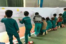 کودکان مهریزی نقاشی 170 متری کشیدند