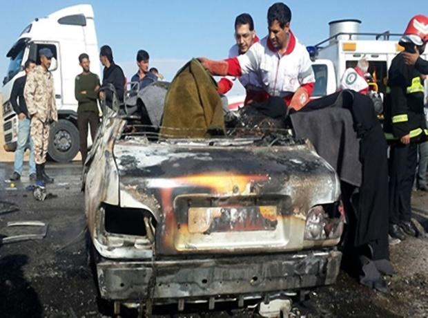 انفجار ناشی از تصادف در جاده اهواز-اندیمشک 2 کشته برجا گذاشت