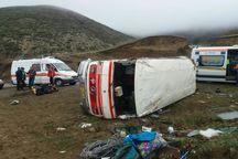 جزئیات سانحه واژگونی مینیبوس در محور «کلیبر-آینالو» +عکس