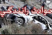 واژگونی و حریق خودروی سمند در جاده اهواز - اندیمشک