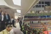 حضور  امام جمعه تبریز در ورزشگاه برای تماشای بازی افتتاحیه مسابقات فوتسال آسیا