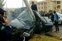 مصدومیت ۴ دختر جوان در تصادف خودروی سواری