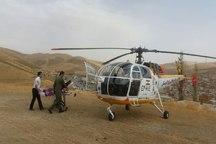 زن باردار با بالگرد اورژانس هوایی کردستان به بیمارستان منتقل شد