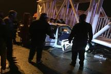 یک کشته و 2 مجروح دراثرسقوط پل عابرپیاده برروی خودروهای عبوری درپاکدشت
