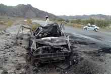 جان باختن دلخراش راننده پژو در تصادف محور ایرانشهر- سرباز