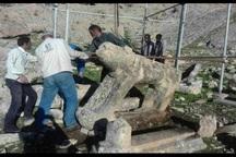 مرمت شیرهای سنگی قبرستان تاریخی شهسوار ایذه آغاز شد