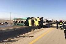 مسدود شدن جاده نهبندان به زابل براثر واژگونی تانکر