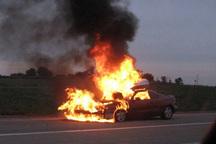 واژگونی و حریق خودروی پژو در خرم آباد منجر به مرگ 2 نفر شد