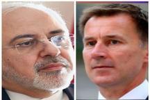 گفتوگوی تلفنی وزیرخارجه انگلیس با ظریف در خصوص آخرین تحولات مربوط به توقیف کشتیها