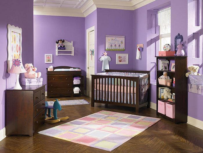 دکوراسیون اتاق خواب نوزاد به رنگ یاسی