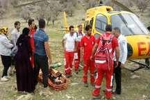 انتقال زن و مرد مصدوم ایلامی در کوه قلارنگ با اورژانس هوایی