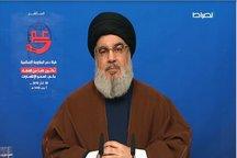 نصرالله: تحریمهای آمریکا بر ما و متحدان ما مانند ایران و سوریه افزایش مییابد