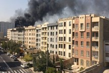 آتش سوزی ساختمان در حال ساخت در باغ فیض تهران