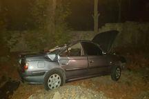 واژگونی یک دستگاه خودرو در جاده کرج- چالوس چهارمصدوم برجا گذاشت