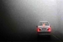 جاده مشهد - کلات مه گرفته است