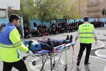 رزمایش پدافند غیرعامل حملات هوایی در مدارس شهرری برگزار شد