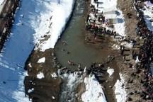 مسابقات مردان یخی ایران در پل معلق مشگین شهر برگزار شد
